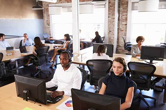 Office With Workers at Desks